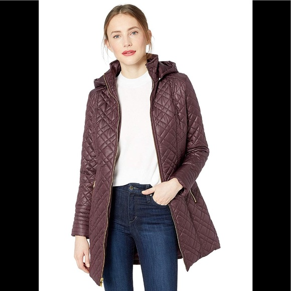 d21aa6b613e Via Spiga Jackets & Coats | Women Center Zip Diamond Quilt Marsala ...
